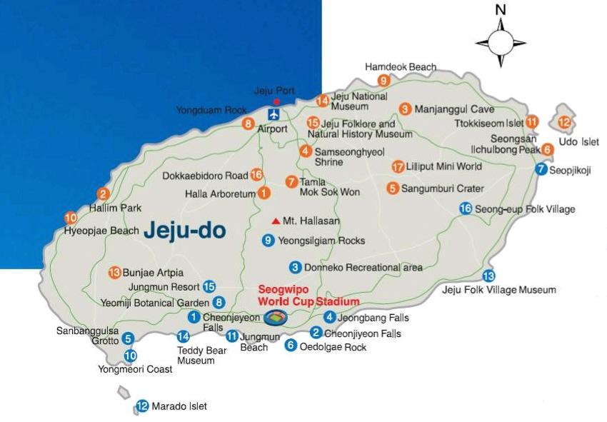 Map of Jejudo Jeju Island Korea  Korea Travel Travel Deals